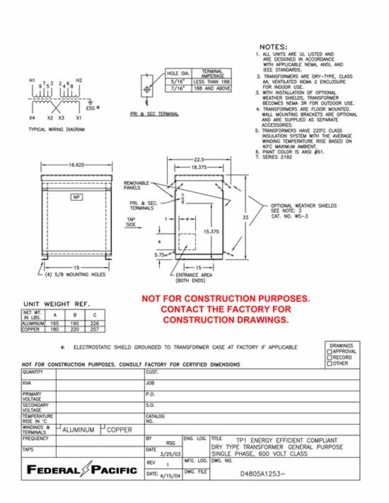 [FPWZ_2684]  15 KVA Transformer Primary 240 x 480 Secondary 120/240 Federal Pacific  S2T15E | Federal Pacific Transformer Wiring Diagram |  | Midwest Electrical Testing