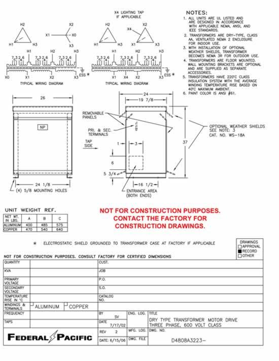 63 Kva Transformer Primary 460  Secondary 460y  266 Federal