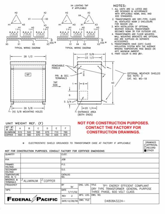 112 5 kva transformer primary 480 secondary 208 120 federal pacific rh swgr com