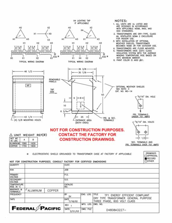 t43t225k13e 225 kva federal pacific transformer t43t225k13e wiring diagram drawing