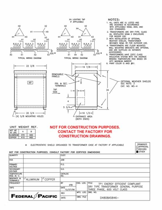 08A5846 t43t45e 45 kva federal pacific transformer 45 kva transformer wiring diagram at mifinder.co
