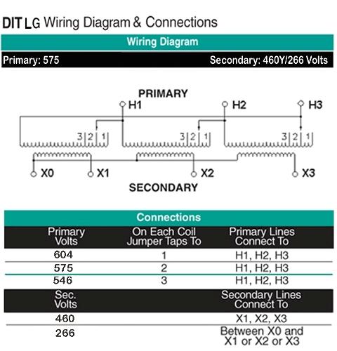 11 KVA Transformer Primary 575 Secondary 460Y/266 ...